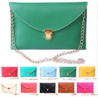 Wholesale Pure Color Envelope Clutch Bags Golden Chain Shoulder Bags Women Cross body Messenger Bags Ladies Casual Buckle Handbags