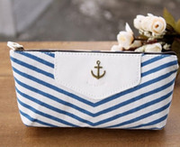 Fabric Pencil Bag Blue korean stationery navy style stripe fashion canvas pencil case large capacity multifunctional school pencil cases pen bags