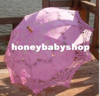 Wholesale Battenburg ivory cream beige Lace Parasol Umbrella Wedding Bridal colorful colors