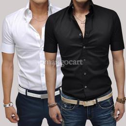 Wholesale Man Spring New Summer Men s Clothing Fashion Short Sleeve Shirt Mens Dress Shirts Pure Color Business Shirts SV003154