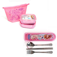 Metal ECO Friendly Dinnerware Sets NEW Hot sale! High-quality FROZEN princess Stainless steel Dinnerware Sets lunch box + spoon+fork+Chopsticks kids best gift