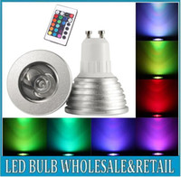 Wholesale 100 W GU10 E27 E14 MR16 V Colors RGB Changing LED Light Bulb Aluminum Lamp Remote Control