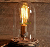 Wholesale Glass Dome Bell Jar Desk Lamp Wooden Base Stonehill Design Edison Table Lamp