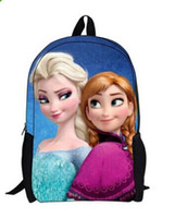 Wholesale HOT Kids Girls Fashion Frozen Queen Cartoon Schoolbag Shoulder Bag Elsa Anna cute picture Backpack Double shoulder bags outdoor bags