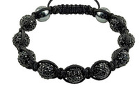 Wholesale Three full diamond beads black rope weaving preparation of clay beads Shamballa bracelet