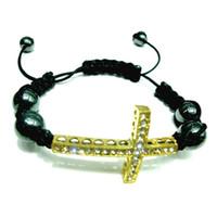 Beaded, Strands Unisex Alloy Shamballa bracelet full of diamond cross bracelet braided bracelet European and American pop gold silver plated bracelet