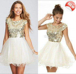 Wholesale Latest Design Scoop Short Cap Sleeves Top Full Gold Sequins A Line Short Mini Organza Homecoming Dresses Amazing Homecoming Prom Dress Cheap