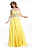 Wholesale Beaded One Shoulder Pleated Bust Yellow Plus Size Prom Dresses Formal Plus Gowns