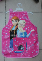 Wholesale Pre sell Frozen Elsa Anna For T Children Priting Warterproof Apron With Oversleeve Kids Cartoon Snow Queen Protective Clothes H0964