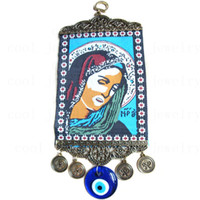 Wholesale Turkish foreign religious pattern people picture blue eyes cloth crafts pendant evil eye pendant