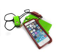 Wholesale PU Leather Phone Cases for Iphone4S S phone cases with sling Cell Phone Case Can plug in card
