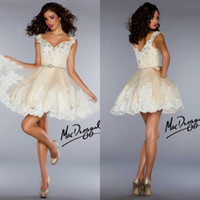 Reference Images Chiffon Sweetheart Cheap 2014 Short Homecoming Dresses Sexy Cheap Spaghetti V Neck Party Dresses Lace Princess Mini Short A Line Cocktail Prom Dresses BH055