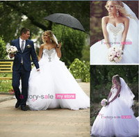 Wholesale 2014 Vintage Sheer Wedding Dresses Ball Gown Sweetheart Crystal Beaded Tulle Court Train Pleats Bridal Gowns with lace up Back BO5998