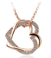 Wholesale JS N005 Necklace Women Top Quality Guarantee Real Gold And Platinum Plated Crystal Heart Necklaces Pendants Nickel Free Fashion Jewelry