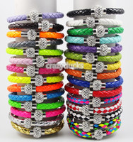 Wholesale PU Leather Magnetic Clasp Shamballa Bracelet Bracelet Bangle Wristband