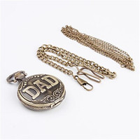 Wholesale 2014NewArrival FreeShipping Vine DAD letters shaped Quartz Necklace Pocket watch Pc