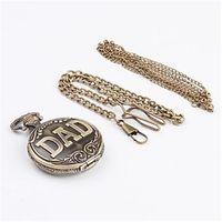 Wholesale 2014NewArrival FreeShipping Vintage DAD letters shaped Quartz Necklace Pocket watch Pc