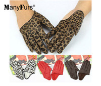 Wholesale ManyFurs new Genuine leather golves Beautiful woman Half palm Leather Gloves styles can be choiece