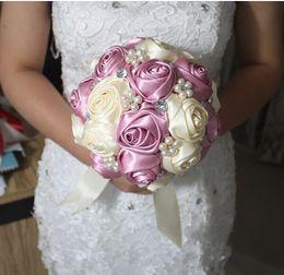 Wholesale 2015 Hot Sale Handmade Bride Wedding Bouquet Beige Pink Contrast High Quality Bride Hold Flowers Bride Bouquet New Arrival pc
