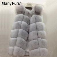 al por mayor pedazos de piel real-Las pieles lujosas delgadas del invierno de las mujeres del chaleco de la piel de Fox del 100% real de ManyFurs el 100% conceden solamente el precio bajo de dos pedazos