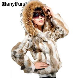 ManyFurs New 2016 100% Real rabbit women's fur short fur coat With a large raccoon fur collar hat