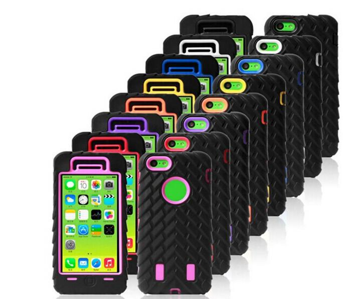 Buy Colorful 3 1 Tire Robot Hybrid Hard plastic PC Silicone Soft Case Cover Skin iphone 4 4S 5 5S 5C iphone5C mix order 10