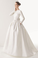 Wholesale New Arrival Fashion Wedding Dresses Ball Gown Crew Covered Button Long Sleeve Floor Length Sweep Train Stretch Satin Bowknot Bridal Gowns
