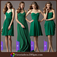 Wholesale First Class Workmanship Emerald Green Bridesmaid Dress Ruched Chiffon Summer Beach Zipper Back Design Custom Made Wedding Guest Dresses