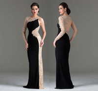 Reference Images one shoulder black evening dress - 2014 Sexy Black Chiffon Beaded Evening Dresses Sheer Illusion Back Prom Gown Mermaid One Shoulder Long Sleeve Pleated Formal Gowns