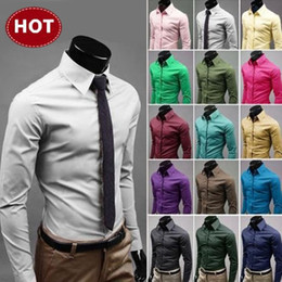 Wholesale 2014 Hot Sale Solid Color Full Sleeve Men s Casual Shirts Korean Slim Fit Plus Sizes M XXXL