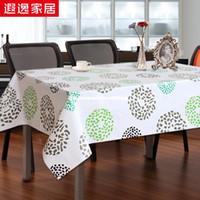 Wholesale Pastoral stylish green pvc plastic round table cloth waterproof oil soft glass cloth tablecloths custom table mats