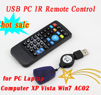 Wholesale DHL Free Universal USB PC IR Remote Control for PC Laptop Computer XP Vista Win7 AC02 with the retail package