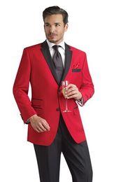 Custom Design Two Buttons Red Groom Tuxedos Black Notch Lapel Best Man Groomsmen Men Wedding Suits (Jacket+Pants+Girdle+Tie) OK:810