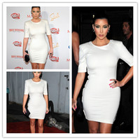 Work Sheath Mini Customized White Kim Kardashian Day Dress Corset Scoop Neck Mini Satin Sleeve Celebrity Dresses Short Women Vestidos
