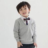 Boy Spring / Autumn Standard 2014 Autumn Baby Boys Bow Tie Tshirts Children Long Sleeve 100% Cotton British Style Shirts Tops Kids Clothing