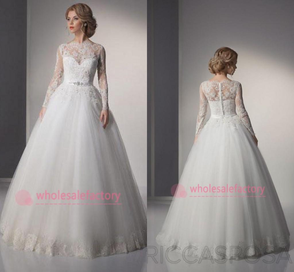 2016 Vintage Ball Gown Wedding Dresses Bateau Long Sleeve Button ...