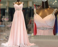 nylon chiffon - Distinctive Crystals Beaded Pale Pink Chiffon Evening Dresses Nylon Straps A Line Floor Length Chiffon Prom Gowns Party Dress