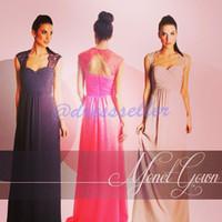 Wholesale 2015 New Simple Vintage Sweet heart Lace Portrait Keyhole Open Back A line Long Ruffle Chiffon Group Bridesmaid Dresses On Sale