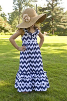 Wholesale 2014 New Girl Princess Children Long Maxi Dresses Adorable Cotton Chevron Dress for Summer Kids Girls