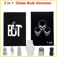 Wholesale 3 in Glass Oil Dome Globe Wax Vaporizer Globe Bulb Atomizer Wax Vaporizer coils for ego battery e cigarette kits