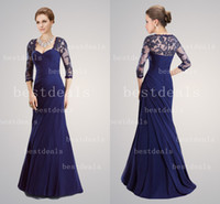 royal blue long sleeve lace mermaid mother of the bride dres...