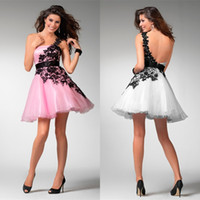 Wholesale In Stock Cheap Under Cute Pink Organza Short Homecoming Dresses Cocktail Dress A Line One Shoulder Open Back Party Dress Cheap
