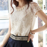 Cheap Hot Spring 2014 Fashion Women Blouse Short Sleeve Casual Lace Top Pearl Collar Clothing Size S-XXL