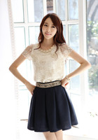 Scoop Neck Short Sleeve Regular Hot Spring 2014 Fashion Women Blouse Short Sleeve Casual Lace Top Pearl Collar Clothing Size S-XXL 10pcs a lot