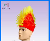 Wholesale 2014 brazil world cup soccer fans wig sheath red headband halloween Christmas span wig cap
