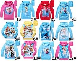 Wholesale 18 Color Frozen Baby Girls Yrs Elsa Anna Princess Olaf Hoodie Long Sleeve Terry Hooded Jumper Cartoon Hoodies Outerwear Kids Clothing