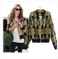 Wholesale 2014 new brand in Europe to restore ancient ways printed baseball jacket collar short coat Women Sweatshirts