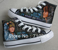 Wholesale tall style canvas shoes Justin Bieber hand painted sneaker women men blank boots hair