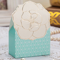 Wholesale 120 Sweet Baby Blue Candy Gifts Chocolate Favor Boxes With Embossed Flower For Wedding Party
