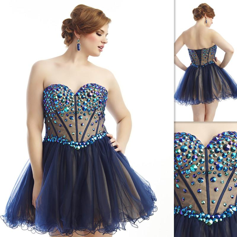 2015 Sexy Navy Blue Short Plus Size Prom Dresses Sweetheart Beaded ...